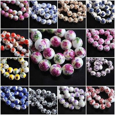 Loose Lampwork Colorized Flowers Round Porcelain Beads Spacer Craft Jewelry 10mm