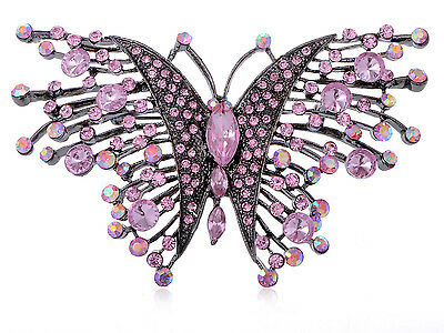 Antique Finish Rose Pink Intricate Crystal Rhinestone Butterfly Dog Pin Brooch