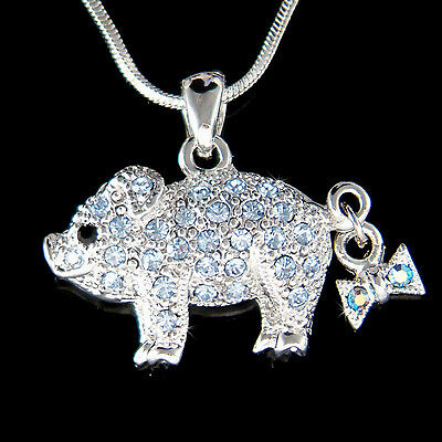 ~Blue Pig Piggy made with Swarovski crystal Piglet Lover Charm Necklace New Cute