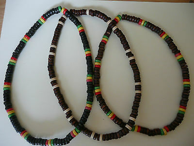Ethnic Rasta Tribal Surfer Natural Wood Bead Dreads Hippie Stretch Necklace
