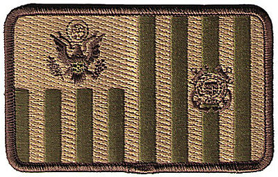 "HOOK/LOOP Ensign flag woodland 4""x2.5""h large W5465V USCG Coast Guard patch"