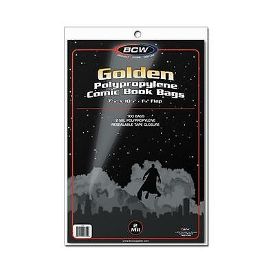 1 Pack of 100 BCW Golden Age 7 5/8' Comic Book Storage Bags Sleeves