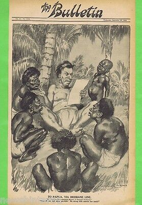 NORMAN LINDSAY POLITICAL CARTOON  FROM THE BULLETIN  Sept 29, 1943, PAPUA