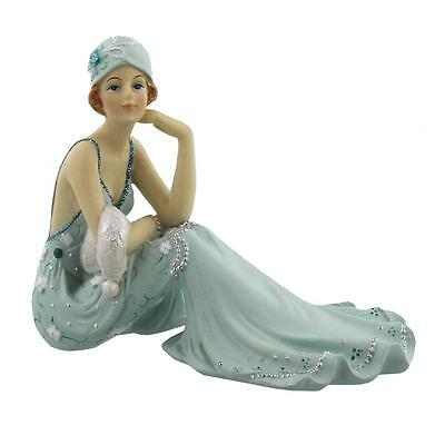 Art Deco Broadway Belles Lady Figurine Statue Sitting. Blue Teal Colour 60831