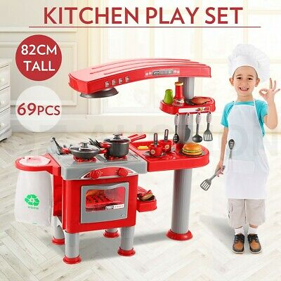 Kids Pretend Role Play Toys Home Oven Kitchen Dinner Children Food Cooking Set