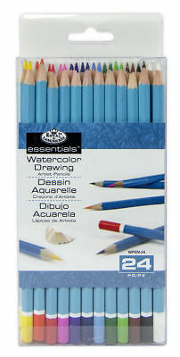 24 Royal Langnickel Essentials Watercolour Soluable Artist Colour Pencils Wpen24