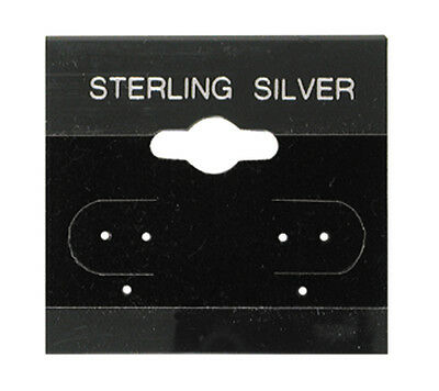 """100Pc Black Sterling Silver Hanging 1.5"""" x 1.5"""" Earring Card Lip Jewelry Display"""