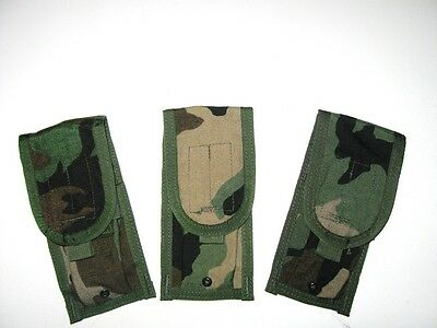 Lot of 3 NEW US Army Military USMC Woodland Camo Molle Double Mag Ammo Pouches