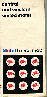 1966 Mobil Central and Western US Vintage Road Map
