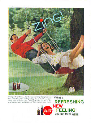 Swing out for Coca-Cola ad 1960 couple on tree swing