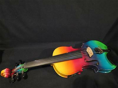 Beautiful Colorful electric & acoustic 5 strings violin 4/4 perfect sound #9252