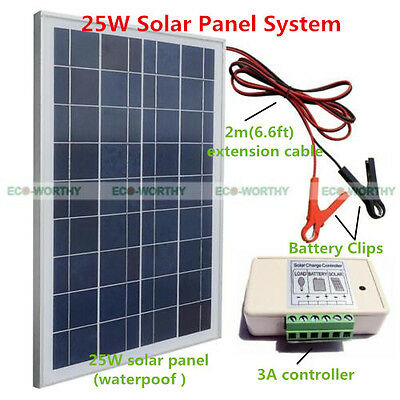 20W 12V Solar Panel Module System Kit With battery clips, 3A charge controller