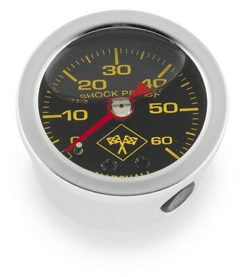 Bikers Choice Oil Pressure Gauge 0-60 PSI Silver Stainless Steel for Harley