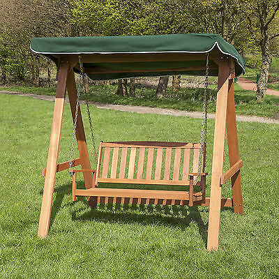 2 Seater Wooden Swing Seat with Coloured Canopy