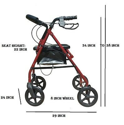 "8"" Inch 4-Wheel Rollator Light Weight Rolling Casters Walker With Shopping Cart"