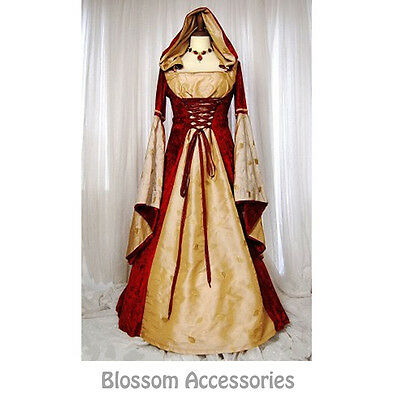 I75 Red Hooded Gown Game Thrones Renaissance Medieval Queen Fancy Dress Costume