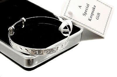Silver Plated Baby Bracelet & Personalised Engraved Gift Box, Christening Gift