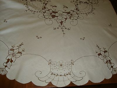 Round Linen Tablecloth with Floral Cut Work Embroidered Dots and Swirls Elegant