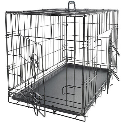"36"" Dog Crate 2 Door w/Divide w/Tray Fold Metal Pet Cage Kennel House for Animal"