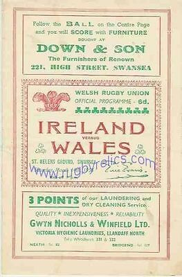 WALES v IRELAND 1953 RUGBY PROGRAMME 14 Mar at SWANSEA