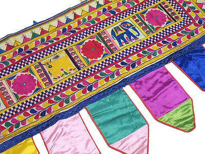 India Home Decor Toran Window Treatment Covering Handmade Mirror Work Valance L