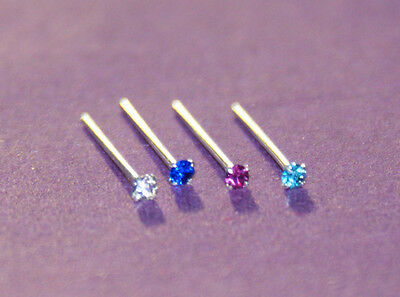 SMALL 1.5 MM FLAT CRYSTAL SILVER STRAIGHT PIN NOSE STUD choice of colours