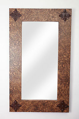 Rustic Ranch Tooled Leather Mirror -Mexican-20x34 in-Western-Cowboy-Wall