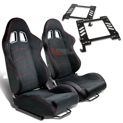 2X Type-1 Reclinable Black Suede Racing Seat+For 02-07 Wrx/sti Adapter Bracket