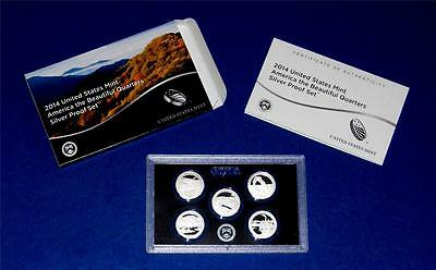 2014 S Silver Quarter Proof Set - 5 Coins - 90% Silver- With Box/COA-IN STOCK