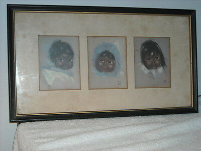 set of (3) Vintage Audrey Young Oppel Children of the North Matted Framed Signed