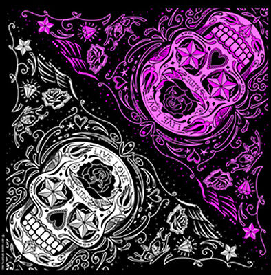 LADIES SUGAR SKULL BIKER  BANDANA