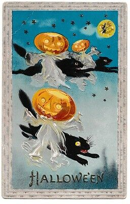 1911 Vintage Halloween JOL Ghosts on Flying Black Cats, Witch & Moon Postcard