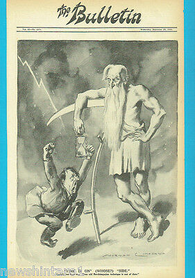 NORMAN LINDSAY POLITICAL CARTOON FROM THE BULLETIN Sept. 20, 1944, FATHER TIME