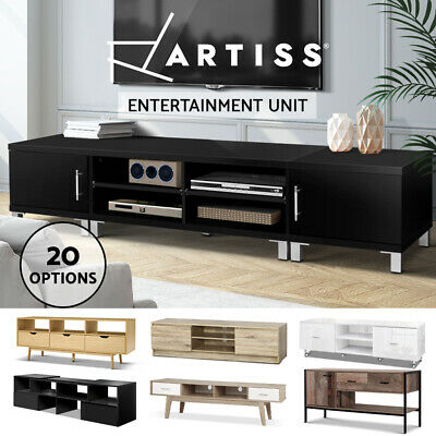 TV Cabinet Stand Entertainment Unit Lowline Storage White Black Timber LED