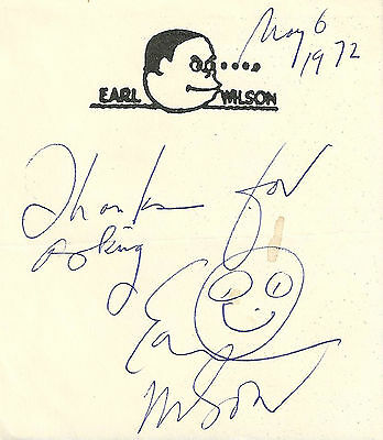 Columnist Earl Wilson signed stationery note / autograph It Happened Last Night