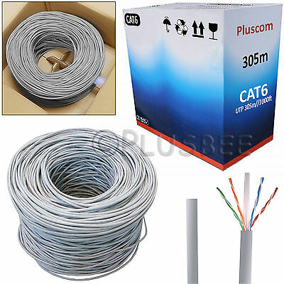 305M RJ45 CAT6 UTP Ethernet LAN Network Twisted Pair CCA Cable Outdoor/Indoor UK