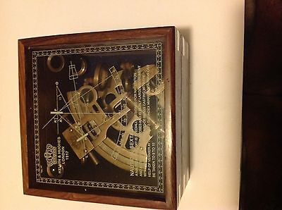 SOLID BRASS NAUTICAL COLLECTABLE SEXTANT WITH WOODEN BOX ( NS 437 )