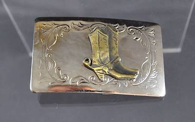 Vintage Belt Buckle Made In USA Silver Tone Brass Cowboy Boots Filigree About 3""