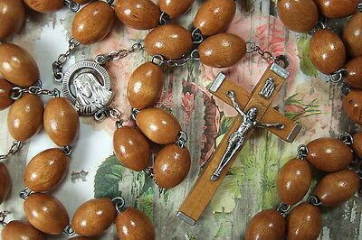 Catholic Rosary VERY LARGE 14mm Brown Wood Beads Our Lady of Sorrows medal