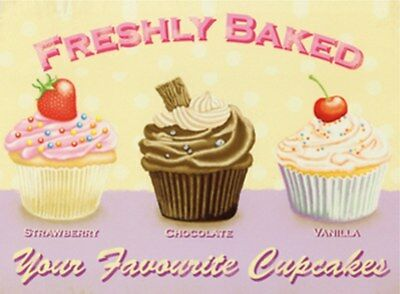 MAGNET 301/250 - FRESHLY BAKED - YOUR FAVOURITE CUPCAKES - 8 x 6 cm - NEU