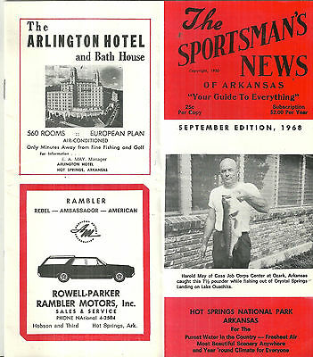 Sportsman's News of Arkansas Hot Springs National Park Ozarks 1968 Guide