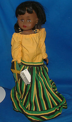 "Heritage Queen, Jamaica Doll in Yellos, Green and Black Outfit, 18"" lot1133"