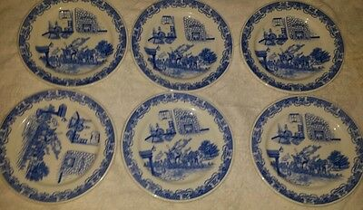 """6 VINTAGE CHINA PLATES BY IROQUOIS U.S.A. 10""""  BLUE DINNER PLATES"""