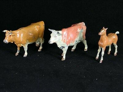 Lot of 3 Vintage / Old Lead Toys Britians 2 Cows and 1 Horse (Colt)