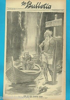 NORMAN LINDSAY POLITICAL CARTOON FROM THE BULLETIN  Sept. 1, 1943,  STYX FERRY