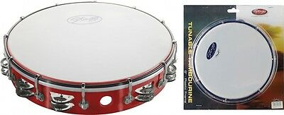 """Stagg TAB-212P-RD - 12"""" Tuneable Plastic Tambourine w/2 Row of Jingles - Red"""