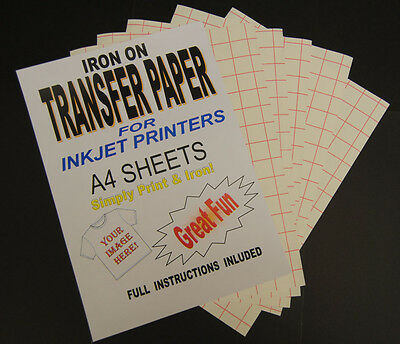 Inkjet Iron On T Shirt Transfer Paper A4 100 Sheets (For Light Fabrics)