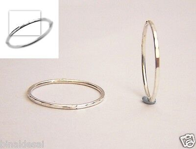 f692b4c00 925 Sterling Silver 13mm Faceted Small Hinged Hoop Sleepers Earrings B'Day  GIFT