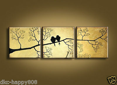 MODERN ABSTRACT HAND DRAWING CANVAS ART WALL DECOR OIL PAINTING-BIRDS
