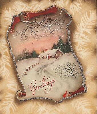 Vintage Greeting Card Christmas Landscape House Snow Scroll 1940s v434